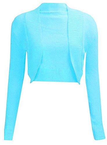 ha Turquoise maglia donne cardigan pianura spalle lunga lavorato Janisramone di migliori a scrollata bolero SCqaxfn6w