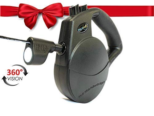 WALKWHIZ Retractable Leash for Dogs, with 360 Degree Automatic Light Patent, Powerful L.E.D. Any Dog Size up to 110lbs, 16 ()