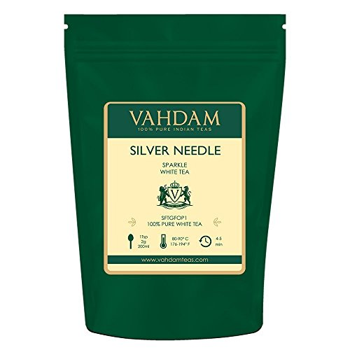 Organic Silver Needle White Tea - VAHDAM, Silver Needle White Tea Loose Leaf (25 Cups) | HEALTHIEST TEA, 100% NATURAL White Tea Leaves | POWERFUL ANTI-OXIDANTS, CAFFEINE FREE | Brew as Hot Tea, Iced Tea or Kombucha Tea | 1.76oz