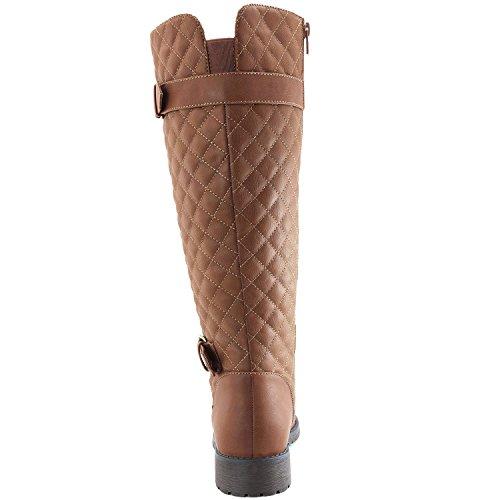Calzado Redondo De Quita Y Pon De Las Mujeres DailyZapatos Calcetín De Combate Alto De Jinete A Media Pierna Con Bronceado De Bolsillo Lateral