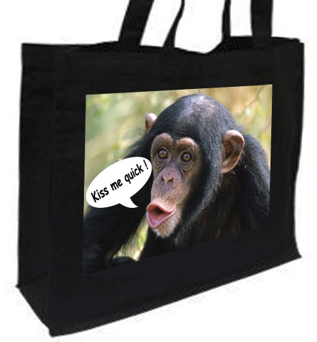shopping Black bag Chimpanzee Chimpanzee Cotton Cotton wBZqnzStHt