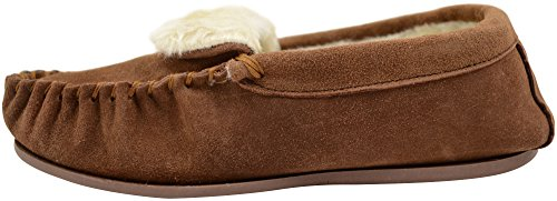 Camel with Sheepskin Womens Suede Slippers Sole Ladies Moccasins Rubber 8B7wfq