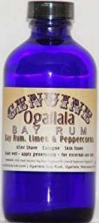 product image for 4 oz Genuine Ogallala Bay Rum, Limes & Peppercorns . Old-time looking bottle and label.