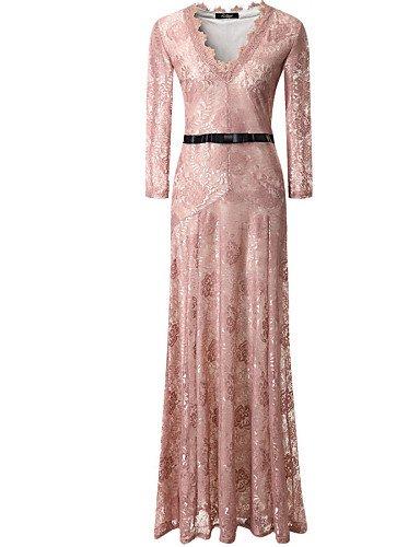 PU&PU Robe Aux femmes Col en V Maxi Polyester / Dentelle , pink-l , pink-l