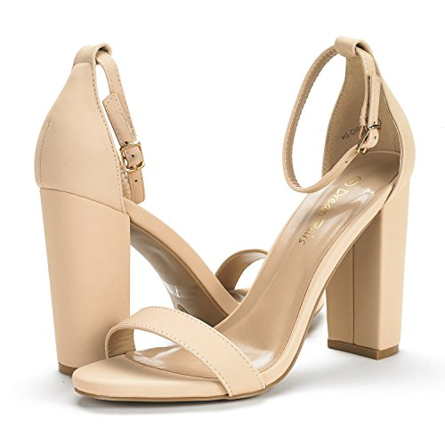 Evening Ankle Sandals Heel NUDE High Stiletto PAIRS DREAM Wedding NUBUCK Toe Women's Open Pumps Chunky Strap HI Dress New CHUNK wXgBS7q