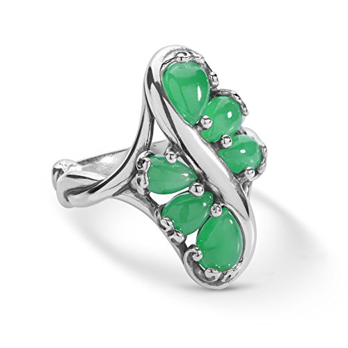 - Carolyn Pollack Sterling Silver and Green Jade Cascading Ring - 6 - Embrace the Stone Collection