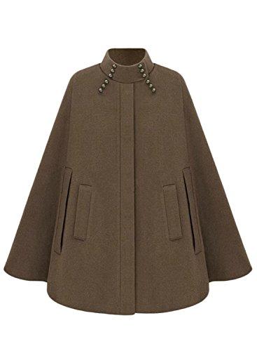 Cape Outerwear - Azbro Women's Fashion Winter Warm Woolen Cape Cloak Coat, Camel L