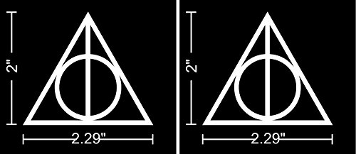 """2 inch Deathly Hallows Harry Potter (2 Stickers of 2"""") Die Cut Vinyl Car Decal Sticker for Car Window Bumper Truck Laptop Hard Hat lunch box Ipad Notebook Computer Skateboard Motorcycle"""