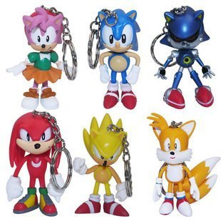 [6 PCS Sonic the Hedgehog Amy Keychain Key Chain] (Hedgehog Costumes For Kids)