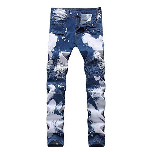 Blu Uomo Bassa Vita Ragazzo Strappati Alta A Casual Da Fit Slim Jeans EqgPp5