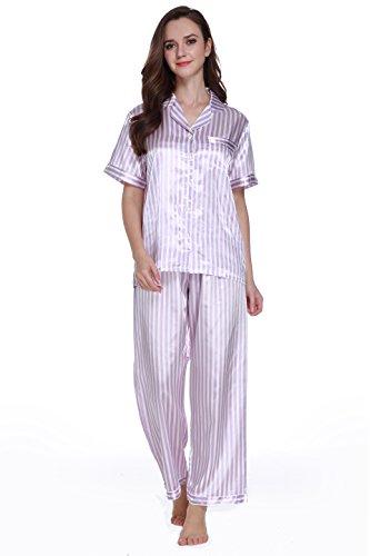 Purple Satin Stripe - Sunrise Women's Short Sleeve Classtic Satin Pajama Set (XX-Large,Light Purple Stripe