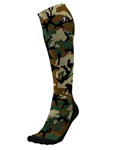 Designer Compression Socks Graduated for Performance and Recovery by Acel (Camo Army, L)