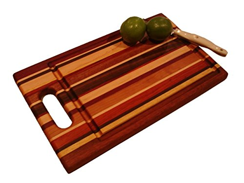 - Lucky Stripes Collection Medium Cutting Board with Handle - Random Hardwoods