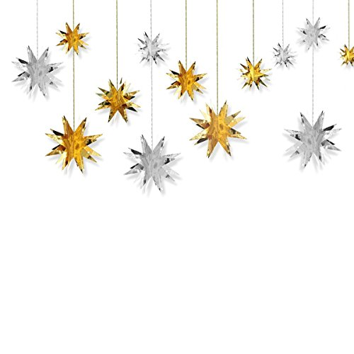 3D Twinkle Star Hanging Banner - Sparkly Paper Star Bunting Garland for Wedding, Birthday Party, Home Wall Decoration Backdrop, Gold+Silver, 12 pcs
