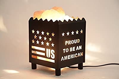 DIA Natural Himalayan Salt Lamp in US Star Design Metal Basket with Dimmable Cord For Christmas And Halloween gifts