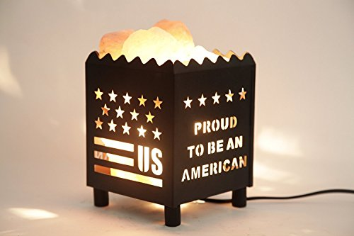 DIA Natural Himalayan Salt Lamp in US Star Design Metal Basket with Dimmable Cord For Christmas And Halloween gifts -