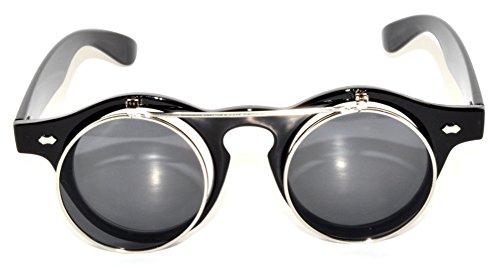 Vintage Retro Circle Flip Up Sunglasses Black Silver - Glasses Circle Framed