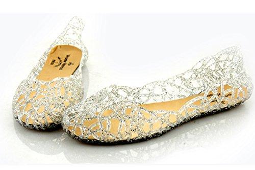 Maybest Femmes Cristal Supérieur Poudre Chatoyante Liaison Nid Doiseau Talon Plat Gelée Chaussures Ruban