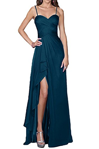 Brautjungfernkleid A Ärmellos Schwarz Langes Chiffon Abendkleid Kongisblau Damen Linie nZ0waxEqq
