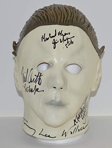 Halloween Michael Myers Mask signed by all the Actors who played The Shape in the original Halloween I Movie from 1978, Nick Castle, Tony Moran, Jim Winburn and Tommy Lee Wallace - ADULT Mask (Economy with sculpted hair)