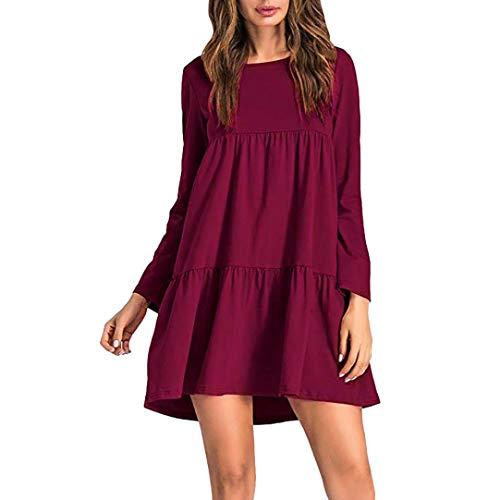 Faldas Largas Mujer Verano Hippies, Zolimx Vestidos Mujer Veranon Vestido de Vendimia Boho de Impresión Cuello Redondo Manga Larga Túnica T-Shirt Vestidos Rojo