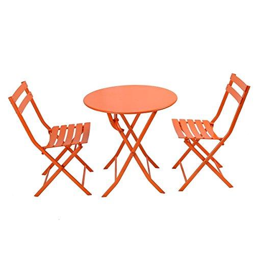 Giantex 3 PC Folding Bistro-Style Patio Table and Chair Set Outdoor Patio Garden Pool Backyard Furniture(Orange) (Orange Garden Furniture)