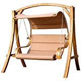 AS-S Design Hollywood wooden swinging chair larch Model:'MERU' HM101 from, Color:Braun