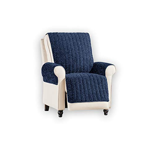 Reversible Plush Sherpa and Fleece Furniture Cover Protector with Smooth Soft Texture, Machine-Washable, Navy, Recliner
