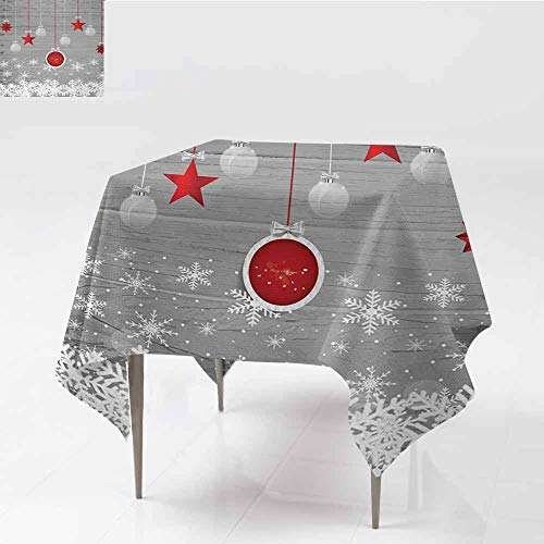 Acelik Stain Resistant Square Tablecloth,Christmas Traditional Celebration Theme with Pendant Stars Baubles Ornate Snowflakes,Table Cover for Dining,36x36 Inch,Grey Red White