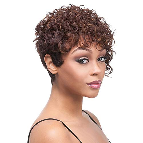 GNIMEGIL Women's Fashion Short Curly Hair Brown Synthetic Wigs with Curly Bangs Female Hair Replacement Wigs for Ladies…