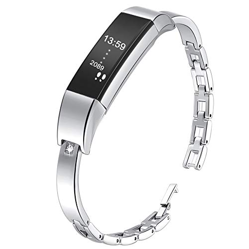 KingBaas Replacement Band Compatible with Fitbit Alta Alta HR, Classy Replacement Crystal Accessory Wrist Metal Bands Compatible Fitbit Alta HR/Fitbit Alta Bands, Silver (No - Band Shiny Mesh Silver