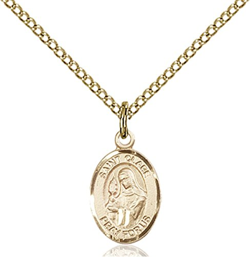 (14K Gold Filled Saint Clare of Assisi Petite Charm Medal, 1/2 Inch)