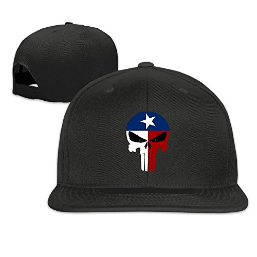 JAX D Unisex Texas Flag Skull Flat Billed Hip Hop Caps Black (New Slipknot Masks For Sale)