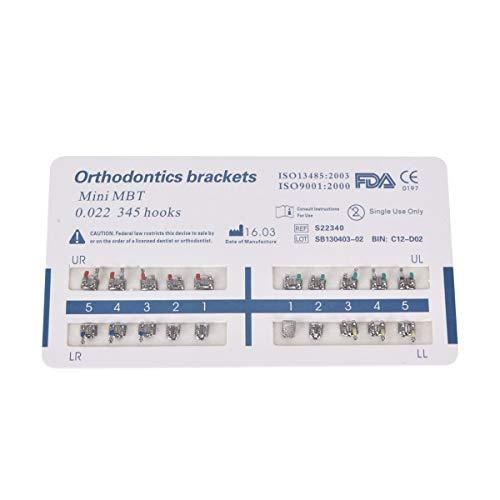3PCS Orthodontic Brackets, Mini MBT, 0.022, 345 with Hooks, Metal Mesh Base