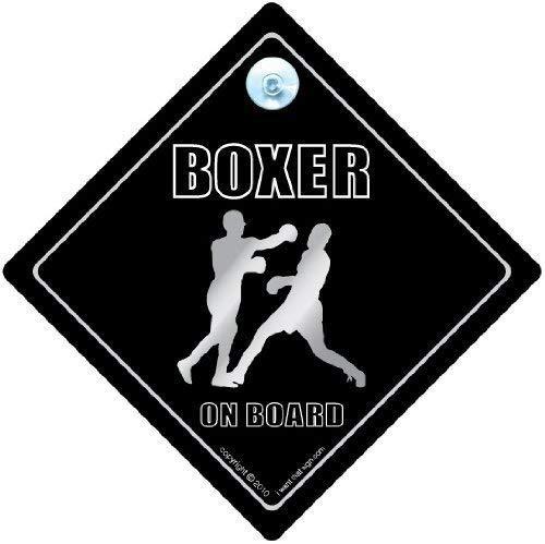 Boxer on Board Schild, Boxing, Sport-Auto-Aufkleber Baby on Board Schild-Schild, Boxen, Boxer-Motiv iwantthatsign.com BoxerOnBoard2