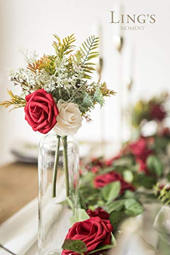 Ling's moment Artificial Red Roses Flower Arrangements for