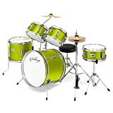 Ashthorpe 5-Piece Complete Kid's Junior Drum Set with Genuine Brass Cymbals - Children's Advanced Beginner Kit with 16' Bass, Adjustable Throne, Cymbals, Hi-Hats, Pedals & Drumsticks - Green