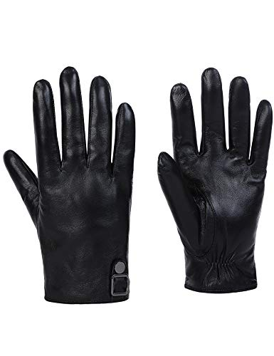 Sheeper Men's Touchscreen Leather Driving Gloves Motorcycle Gloves 2 Adjustable Button (Black) M by Sheeper (Image #1)