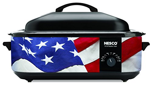 (NESCO 4818-76, Patriotic Roaster Oven with Porcelain Cookwell, Red/White/Blue, 18 quart, 1425 watts)