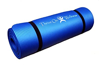"Thrive On Wellness Thick Exercise Mat with Carry Strap - BEST Comfort on Hips, Knees, Spine and Joints, 72"" x 24"" x 1/2"" EXTRA Long Yoga Mats for P90X, Pilates, Yoga, Strength and Stretch Workouts"