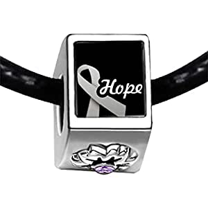 Chicforest Silver Plated white hope Aids Ribbon Photo Light Amethyst Crystal June Birthstone Flower Charm Beads Fits Pandora Bracelet