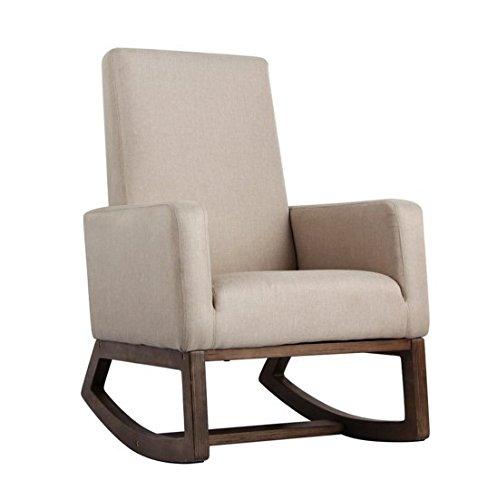 Chaise Swivel Glider Recliner (Esright Beige Fabric Rocker Morden Rocking Chair Comfortable Relax Upholstered Glider)
