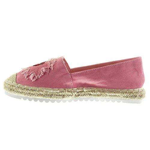 Angkorly - Chaussure Mode Espadrille Mocassin slip-on semelle basket femme fantaisie brodé corde Talon plat 2.5 CM - Rose