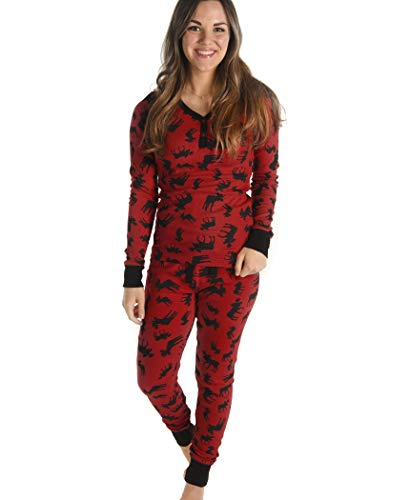 (Classic Moose Women's Thermeez Thermal Animal Pajama Set Set by LazyOne | Cute Soft Womens Warm Pajamas Full Set)