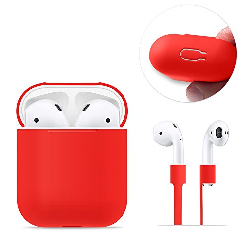 AirPods Case Protective, FRTMA AirPods Silicone Skin Case with Sport Strap for Apple AirPods (Red)