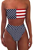 Pink Queen Women's Bandeau High Waisted American Flag Printed 2 Pieces Bikini XL