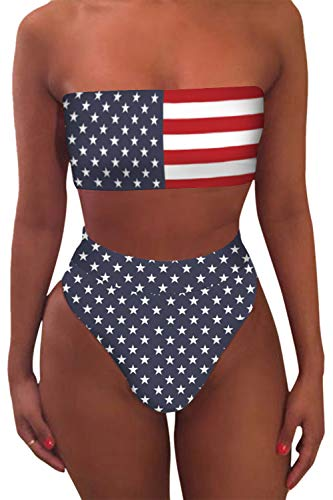 Pink Queen Women's Bandeau High Waisted American Flag Printed 2 Pieces Bikini ()