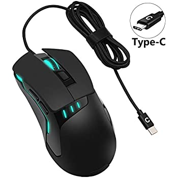 1b759869cdb PHILWIN USB C Mouse, USB Type C Game Mouse Wired Ergonomic Optical Mice for  MacBook, MacBook Pro 2016/2017, Chromebook, or Devices, with USB C Port  Game ...