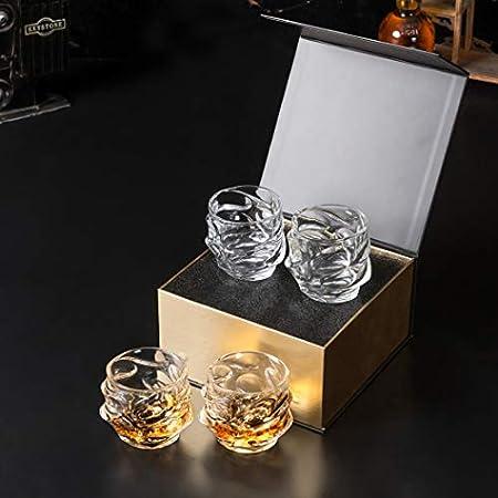 KANARS Vaso de Whisky, Juego de Whiskey de Cristal Sin Plomo, 320 ml, Caja, 4 Piezas