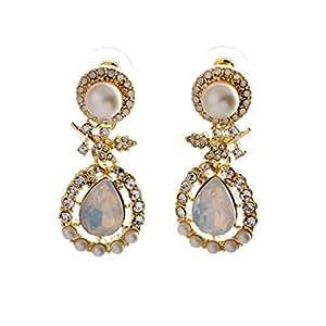 Boucle d'oreille YONEE brillante cristal de imitación Pendientes Largos Pendientes de boda Pendientes para las mujeres